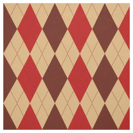 Maroon Red and Tan Argyle Pattern Fabric | Zazzle