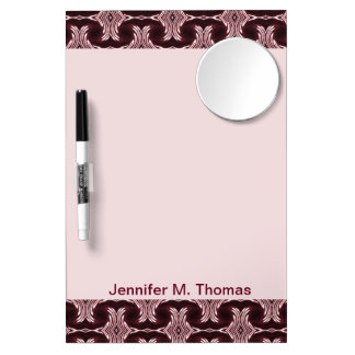 Maroon Red Art Deco Dry Erase Board With Mirror