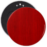 Maroon Red Bamboo Wood Grain Look 6 Inch Round Button