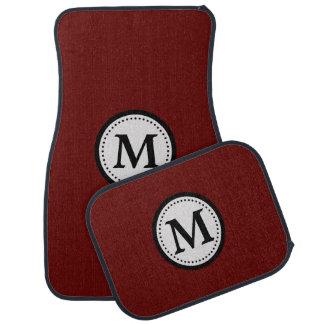 Maroon Red Black Monogram Car Floor Mat