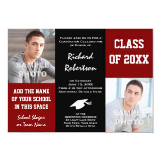 Maroon Red + Black School Colors Photo Graduation Card