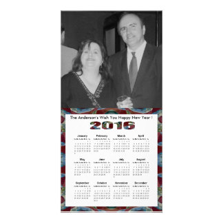 Maroon red blue mosaic 2016 yearly calendar card