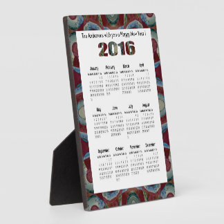 Maroon red blue mosaic 2016 yearly calendar plaque