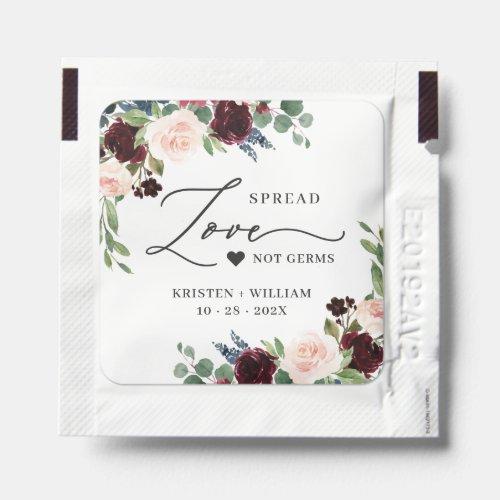 Maroon Red Blush Floral Wedding Spread Love Hand Sanitizer Packet