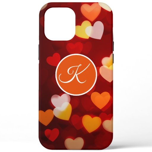 Maroon Red Bokeh Hearts Monogram iPhone Case