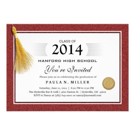 Maroon Red Border Diploma Graduation & Gold Tassel Invites