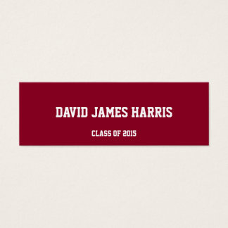 Maroon red collegiate graduation insert name card
