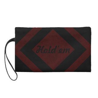 Maroon Red Color Velvet Custom Home Casino Wristlet Purse