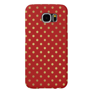Maroon Red Glitter Polka Dots Charming Pattern Samsung Galaxy S6 Case