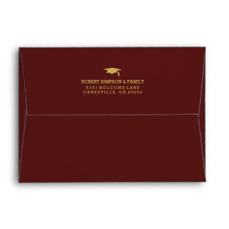 Maroon Red & Gold 5x7 Graduation Invite Envelope