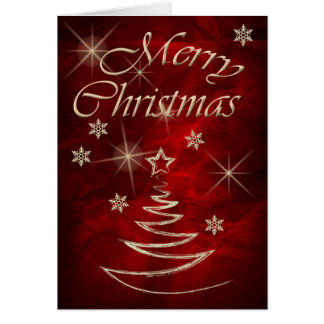 Maroon Red Gold Tree Christmas Card