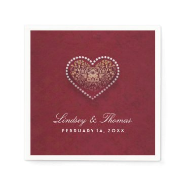 Valentines Themed Maroon Red Gold & White Floral Heart Wedding Paper Napkin