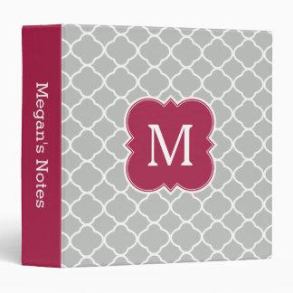 Maroon Red Gray Quatrefoil Monogram Binder
