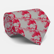 Maroon/Red Longhorn Steer with Cowboy Hat Neck Tie