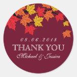 Maroon Red Maple Leaf Fall Autumn Wedding Sticker