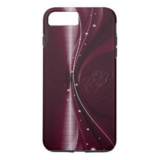 Maroon Red Metallic Retro Dynamic Wave iPhone 7 Plus Case
