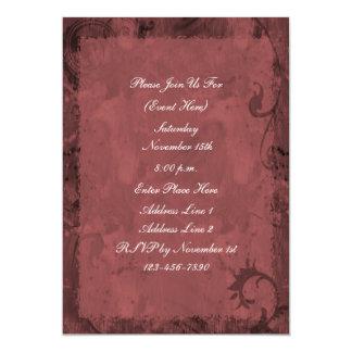 Maroon Red Swirl Design Invitation