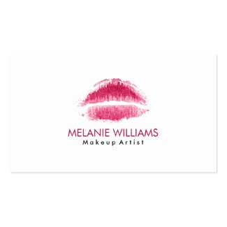 Maroon Red Watercolor Lips Makeup Artist Double-Sided Standard Business Cards (Pack Of 100)