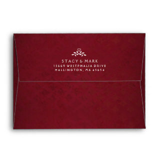 Maroon Red Wedding Invitation Envelope with Heart