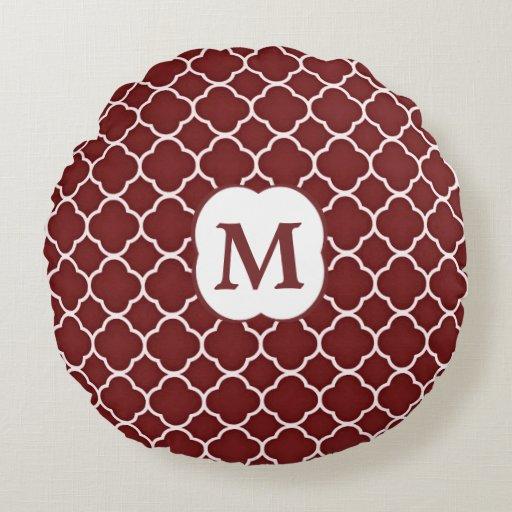Maroon Red White Quatrefoil Monogram Round Pillow Zazzle