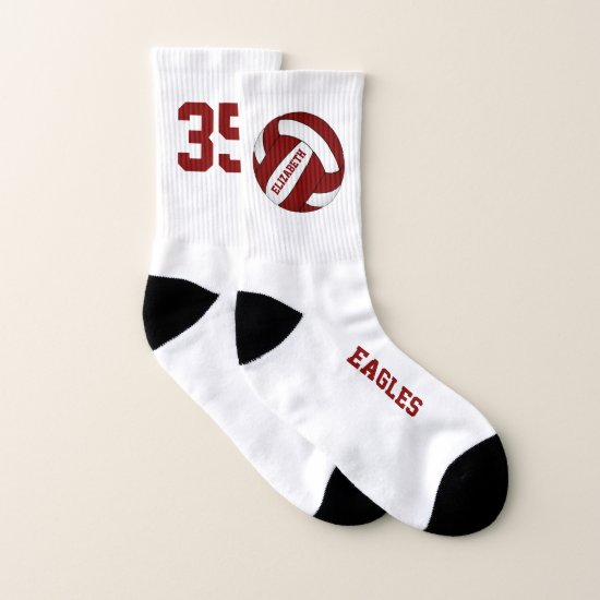 maroon red white team spirit girls volleyball socks
