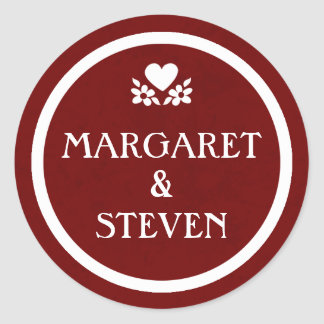 Maroon Red & White Wedding Circle Name Sticker