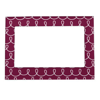 Maroon Retro Colorful Modern Doodles Picture Frame Magnets
