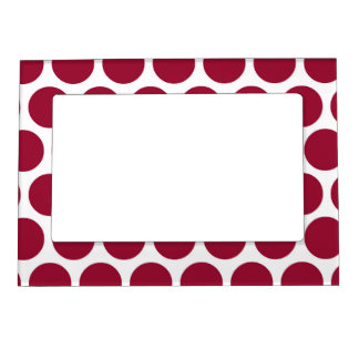 Maroon Retro Colorful Modern Polka Dots Magnetic Picture Frames