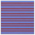 [ Thumbnail: Maroon & Royal Blue Lines Fabric ]