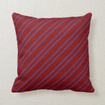 [ Thumbnail: Maroon & Royal Blue Lines Pattern Throw Pillow ]