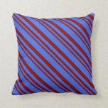 [ Thumbnail: Maroon & Royal Blue Lines Throw Pillow ]