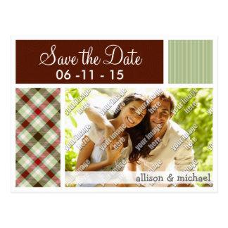 Maroon & Sage Green Plaid Postcard