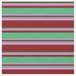 [ Thumbnail: Maroon, Sea Green, and Violet Colored Pattern Fabric ]