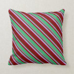 [ Thumbnail: Maroon, Sea Green, and Violet Colored Pattern Throw Pillow ]
