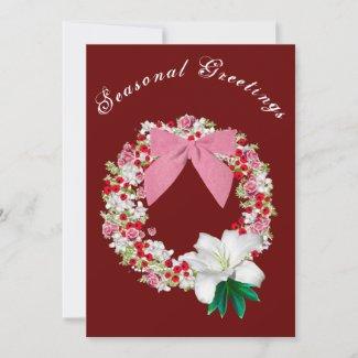 Maroon Seasonal Greetings Thank You Card