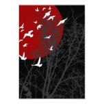 maroon silhouscreen birds card