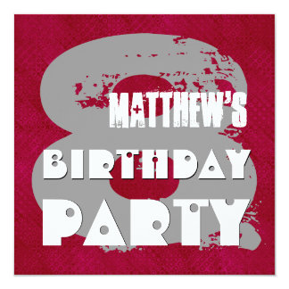 MAROON SILVER 8th Birthday Party 8 Year Old V11E Card