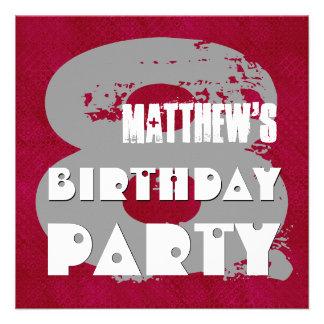 MAROON SILVER 8th Birthday Party 8 Year Old V11E Custom Invitation
