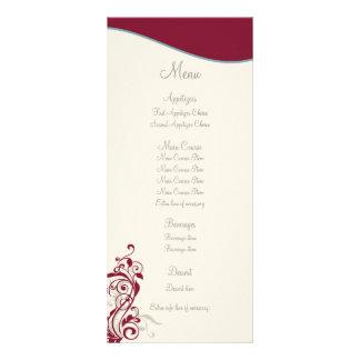 Maroon Silver Swirl Wedding Menu