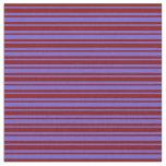 [ Thumbnail: Maroon & Slate Blue Lined/Striped Pattern Fabric ]