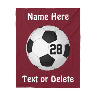 Maroon Soccer Throw Blanket PERSONALIZED
