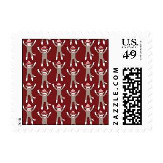 Maroon Sock Monkey Print Postage Stamp