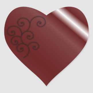 Maroon Spiral heart sticker
