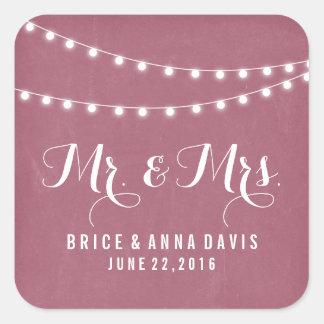 Maroon Summer String Light Wedding Stickers