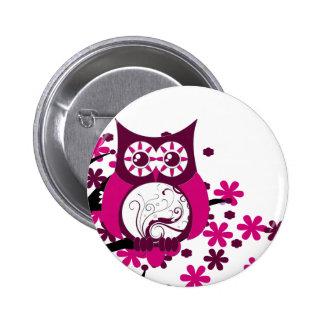 Maroon Swirly Owl Windy Tree Button