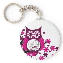 Maroon Swirly Owl Windy Tree Keychain