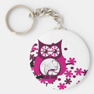 Maroon Swirly Owl Windy Tree Key Chain