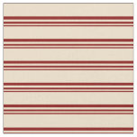 [ Thumbnail: Maroon & Tan Stripes Fabric ]