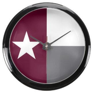 Maroon Texas Flag Fish Tank Clock