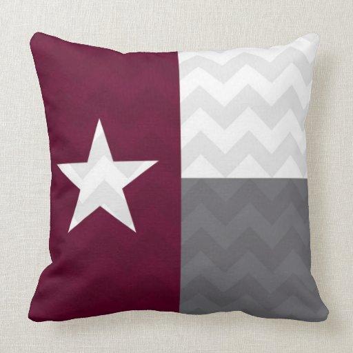 Throw Pillows For Maroon Couch : Maroon Texas Flag Chevron Throw Pillow Zazzle